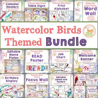 Watercolor Themed Classroom Bundle