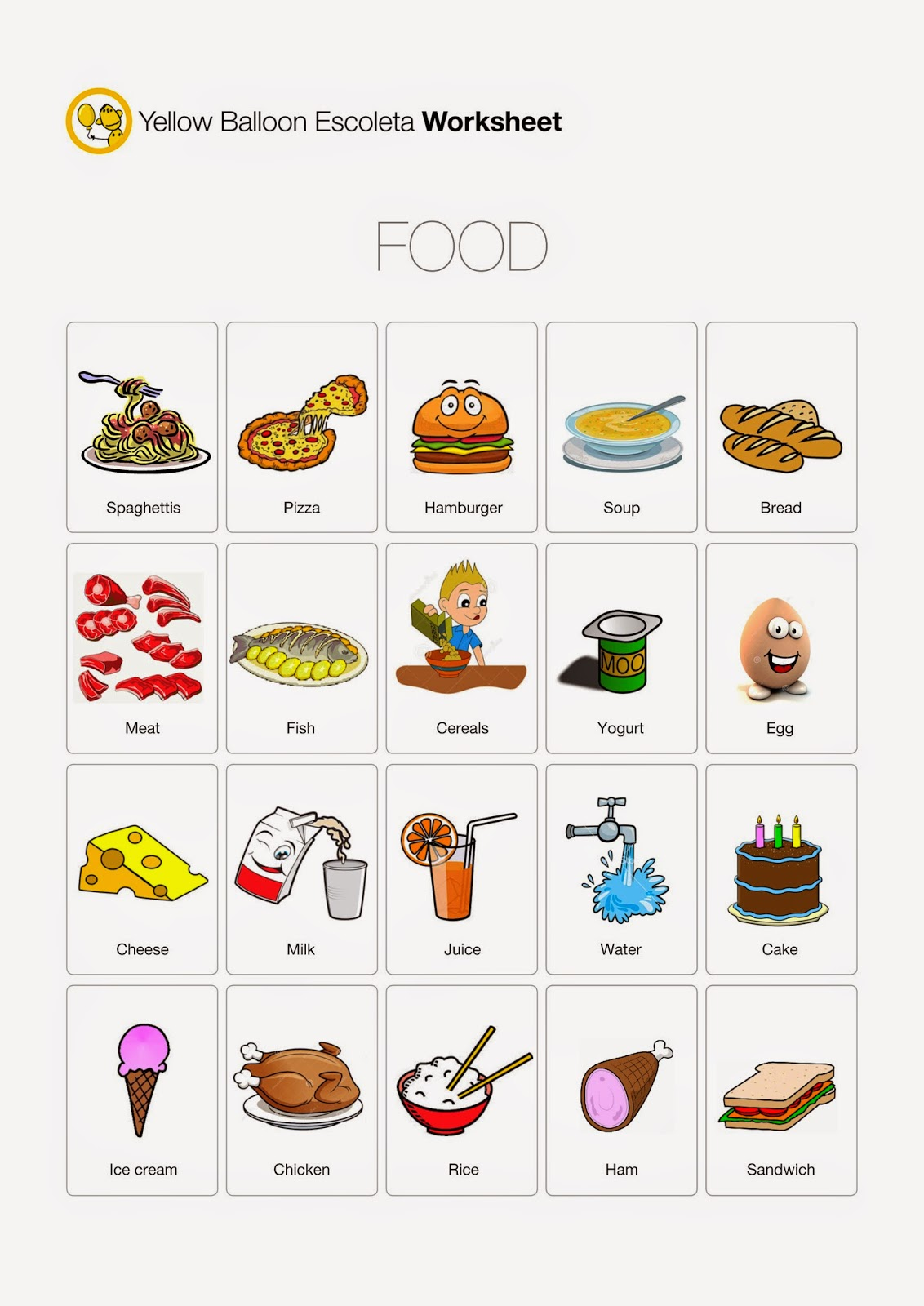 Yellow Balloon Escoleta Food Worksheet