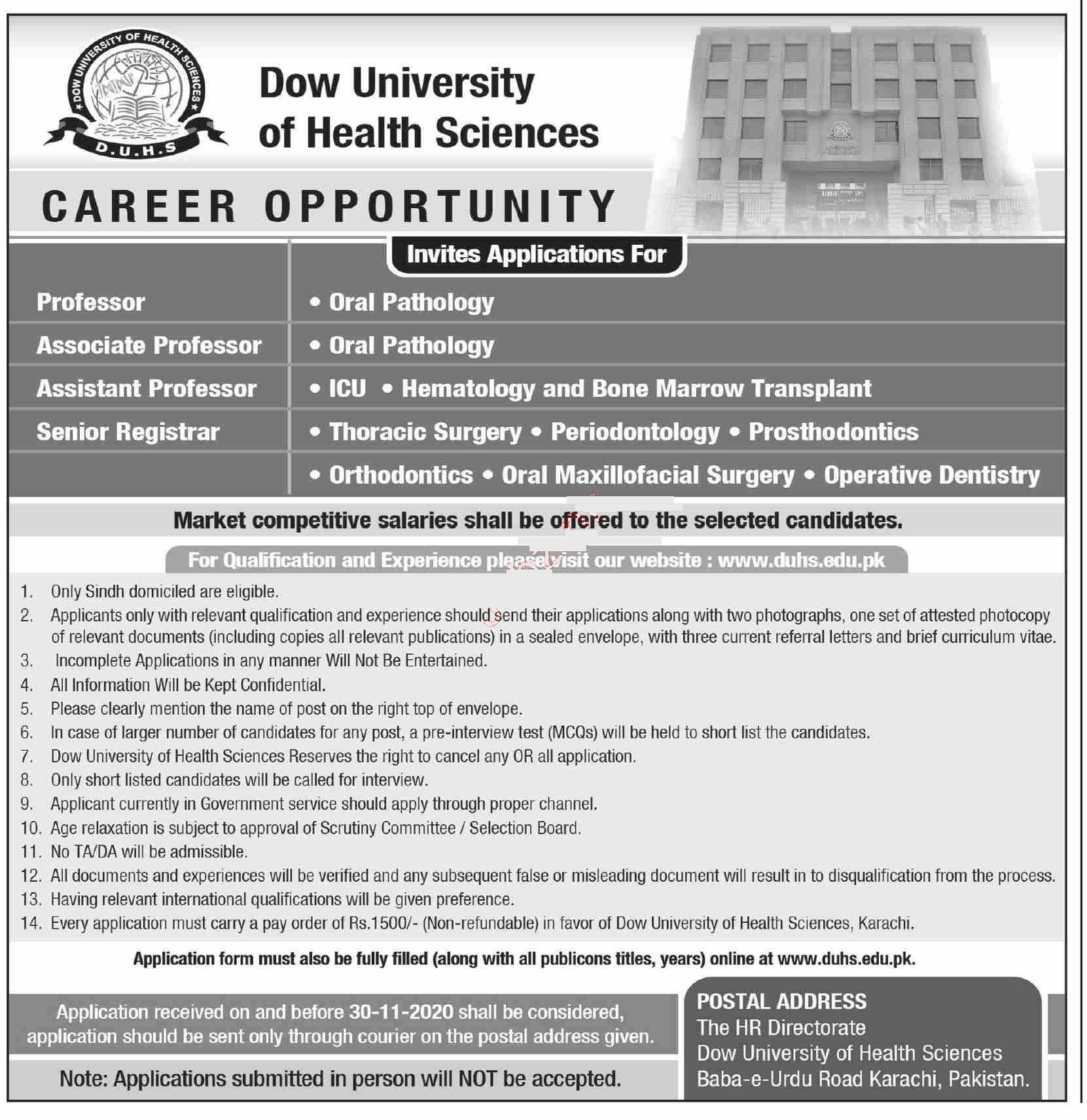 DOW University of Health and Science Jobs Nov 2020 | DUHS