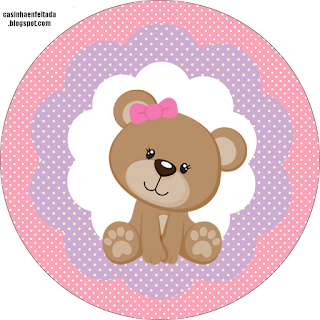 Cute Girl Bear: Free Printable Wrappers and Toppers for Cupcakes.