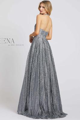 Halter A-line Ieen For Mac Dugga Evening Dress Platinum Color Side Pose