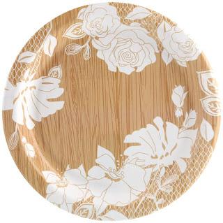 Blooming Elegance Wood Floral Dessert Plate