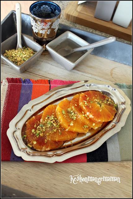 salade d'oranges à la fleur d'oranger sirop libanais ater