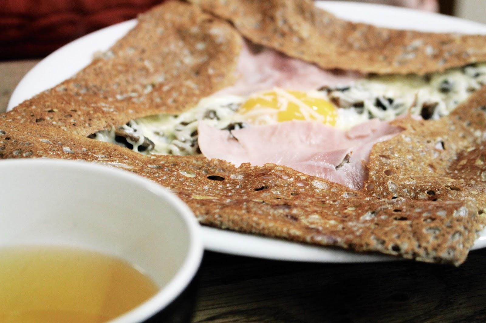 Ham egg mushroom and cheese savoury crepe