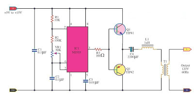 DC to AC Inverter by IC 555 Circuit Diagram