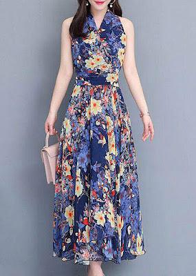 Синее длинное платье для лета