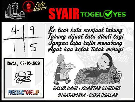 Syair Togel Yes Macau Kamis 08 Oktober 2020