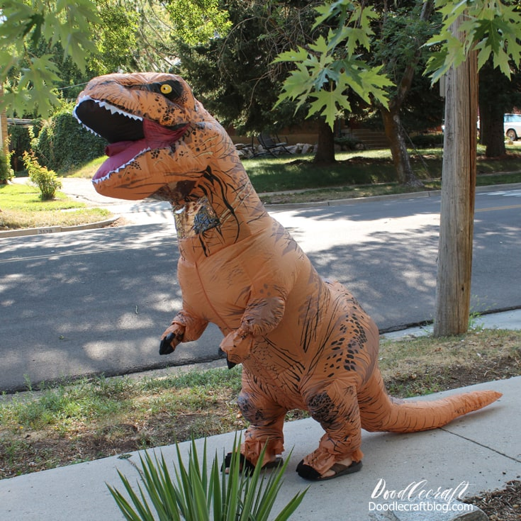Inflatable T-Rex tyrannosaurus rex Halloween costume store bought hilarious costume.