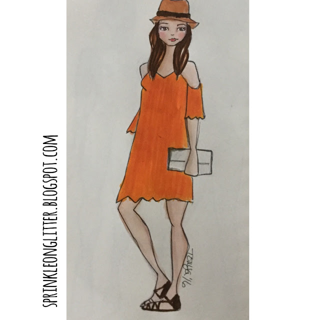 Sprinkle On Glitter Blog// Sketchworthy Reads- The Petite Bijou// orange dress