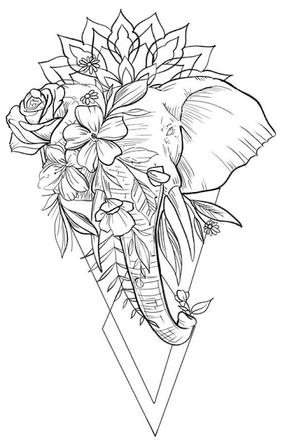 Elephant-with-Mandala-Pattern-and-Various-Flowers-Tattoo-Design