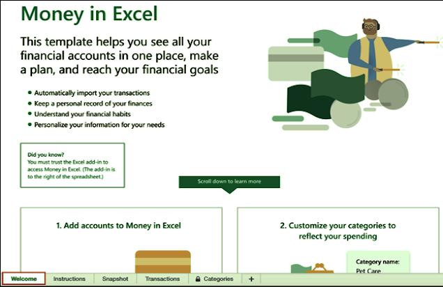 إدارة حسباتك المصرفية عن طريق Excel Mony,