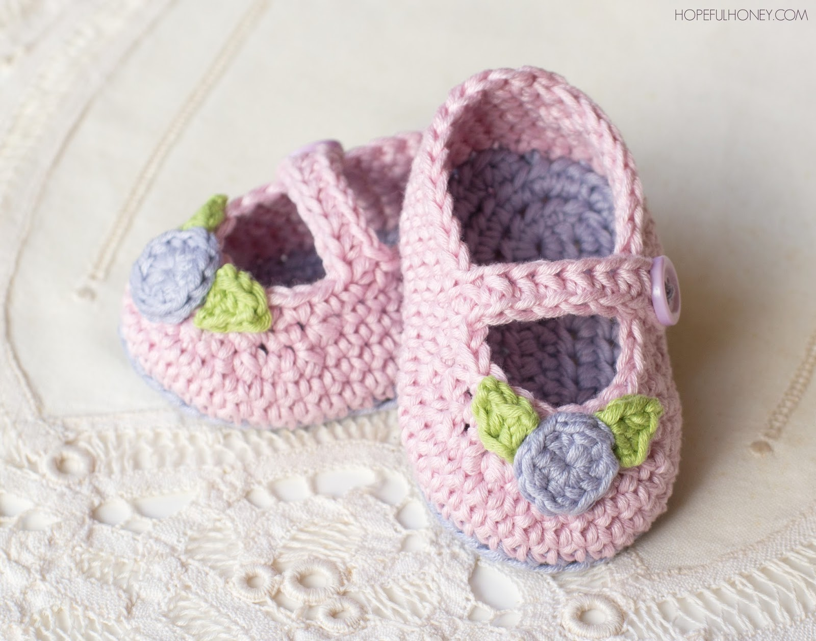 How To Crochet Baby Booties Free Patterns : Hopeful Honey Craft, Crochet, Create: Mary Jane Rosebud ...
