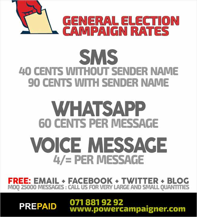 SMS, Email, WhatsAPP, Voice Message Marketing Campaign for General Election