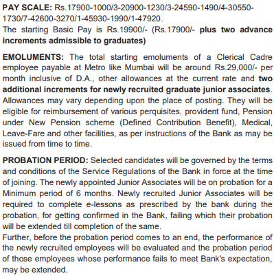 SBI Junior Associate Salary 2021 (Clerical cadre)