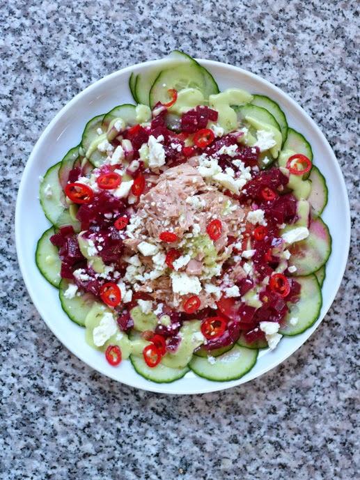 netzchen in the kitchen 2 0 fit durch 2014 salat gurken tomaten feta thunfisch salat mit. Black Bedroom Furniture Sets. Home Design Ideas