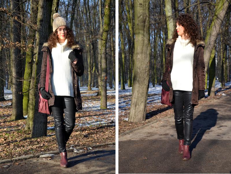 kręcone włosy, wełniany sweter, stylizacja, zima, sweter H&M, kurtka parka, wełniana czapka, sztyblety, bordo