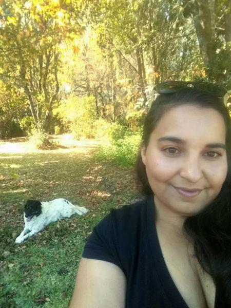 Teresa Da Mata and farm dog Floss. Knysna. South Africa.