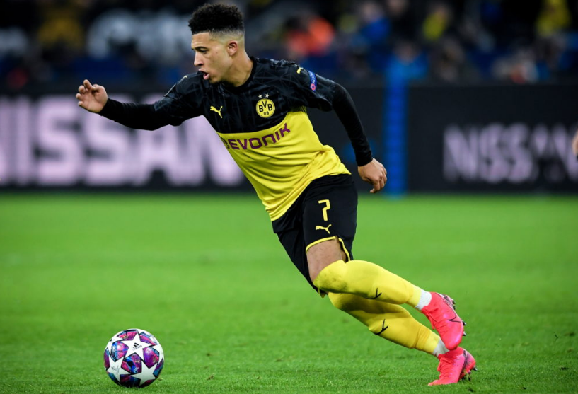 Jadon Sancho in UEFA Champions League action for Dortmund