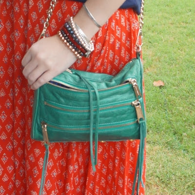 red printed maxi skirt with Rebecca Minkoff emerald green mini 5-zip rocker bag | awayfromtheblue