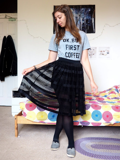 Outfit - 'Ok But First Coffee' grey print t-shirt, black floaty tulle skirt, black tights, grey Toms shoes
