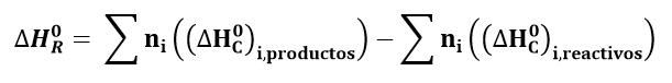 Ecuación de calor de combustión en balance de energía con reacciones químicas
