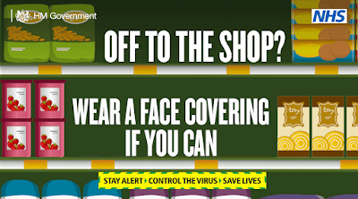Wear face coverings when shopping if you can UK