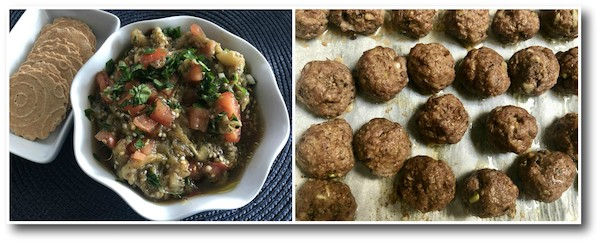 tuk meric eggplant salad and meatballs