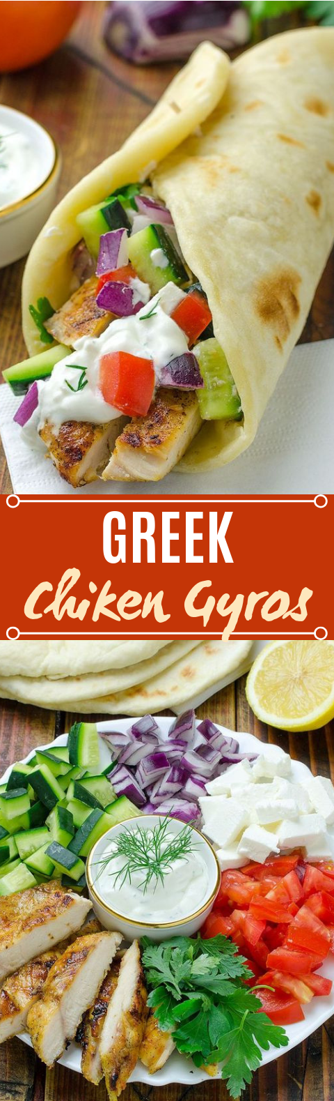 Greek Chicken Gyros with Tzaziki Sauce and Pita Flatbread #wraps #lunch