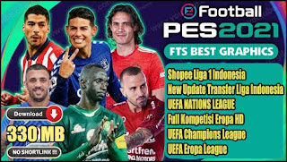 Download FTS Mod PES 2021 Spesial Shopee Liga 1 Indonesia & Full Eropa Final Transfer