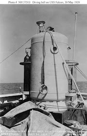 Image Attribute: A diving bell on the after deck of Falcon (ASR-2) during the early stages of the Squalus (SS-192) salvage operations, May 30, 1939. This is not a McCann Rescue Chamber, but the Momsen-McCann diving bell. This was originally the Seaplane hangar on submarine S-1 (SS-105). When the S-1 program was canceled the Seaplane hangar was salvaged by Charles Momsen, the submarine Commander, for conversion to a rescue Bell. / Courtesy: Photographed by the Portsmouth Navy Yard, Kittery, Maine. Official USN photo USNHC # NH 57503, from the collections of the Naval Historical Center. Partial text and photo i.d. courtesy of Jeffery G. Scism.