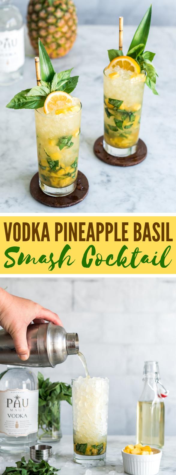 Vodka Pineapple Basil Smash Cocktail #drinks #earthday