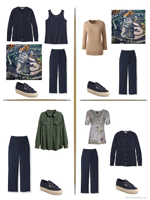 four ways to style a pair of navy pants in a travel capsule wardrobe