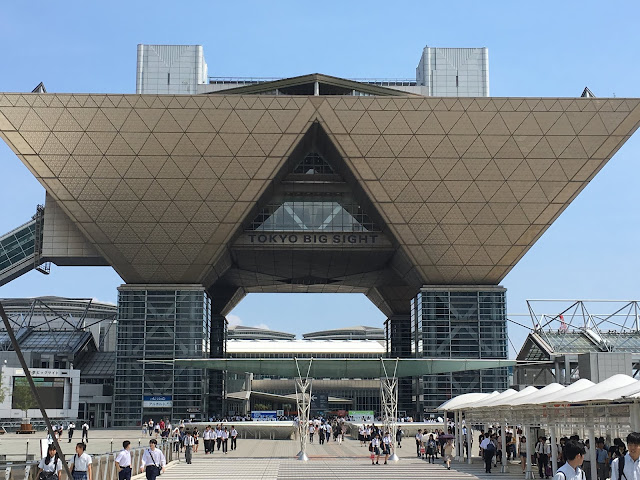 The two towers of the imposing Tokyo Big Sight conventiona and exhibition centre