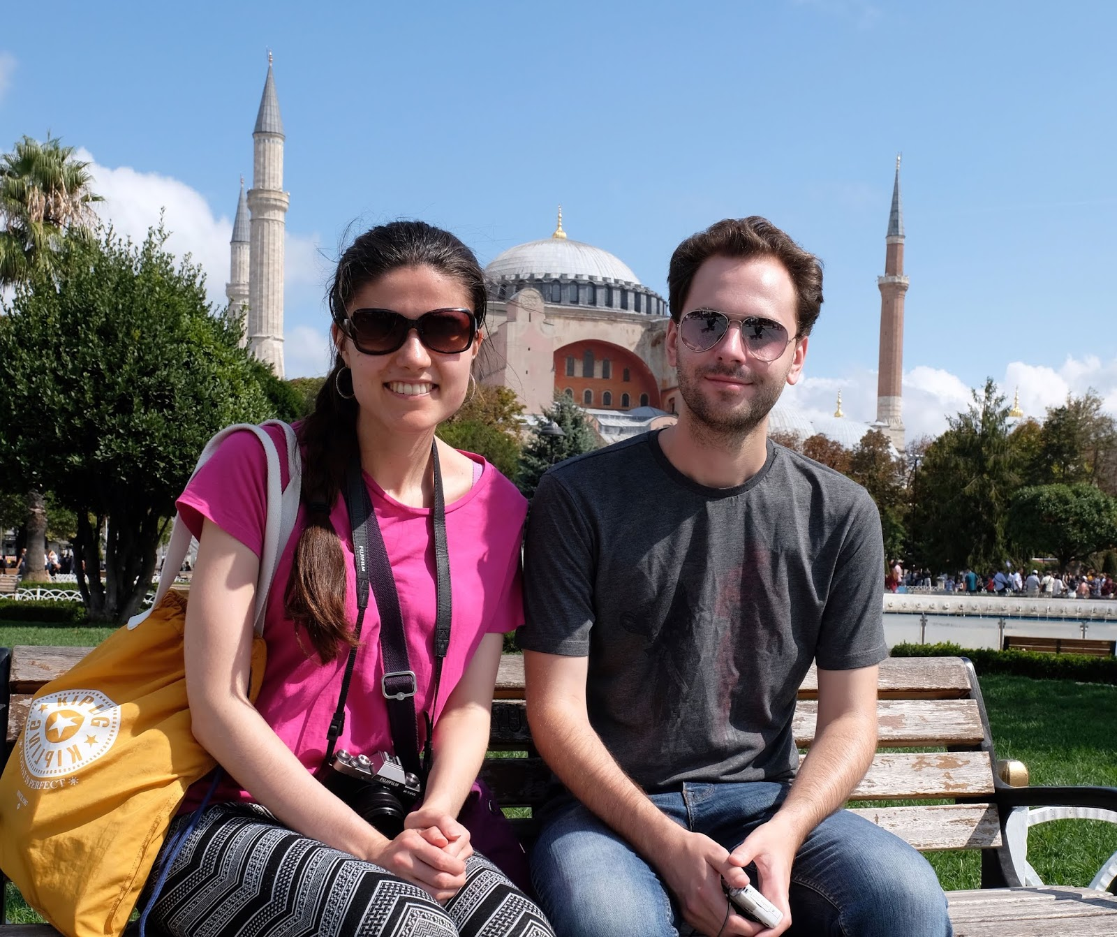 Kat and Stuart outside the Hagia Sophia in Istanbul, Turkey