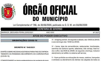 Decreto amplia o toque de recolher em Maringá e endurece medidas de isolamento social