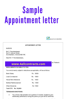 appointment letter sample template doc to download