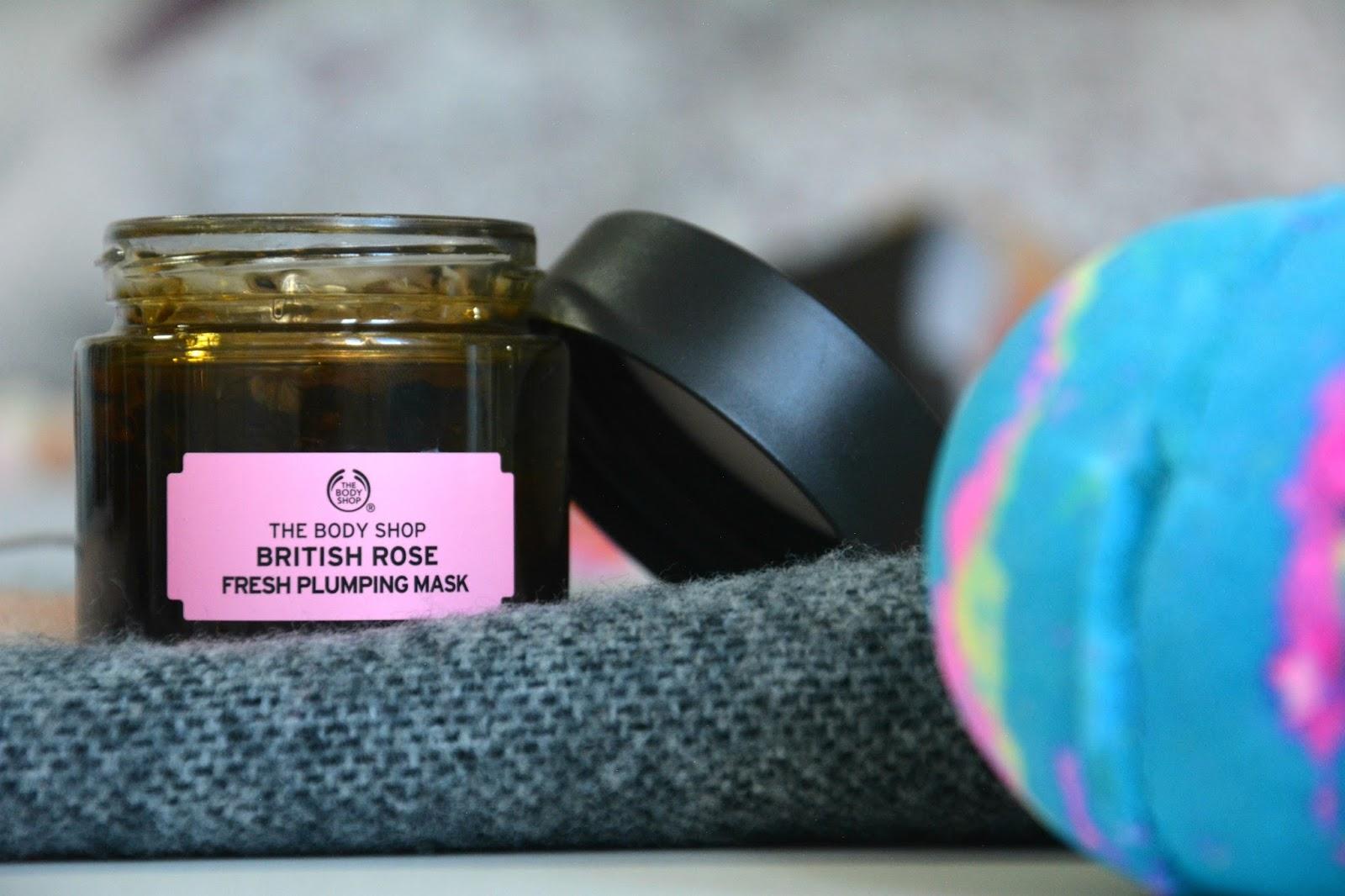 The Body Shop British Rose Fresh Plumping Mask; Lush Intergalactic Bathbomb; Pimkie Scarf