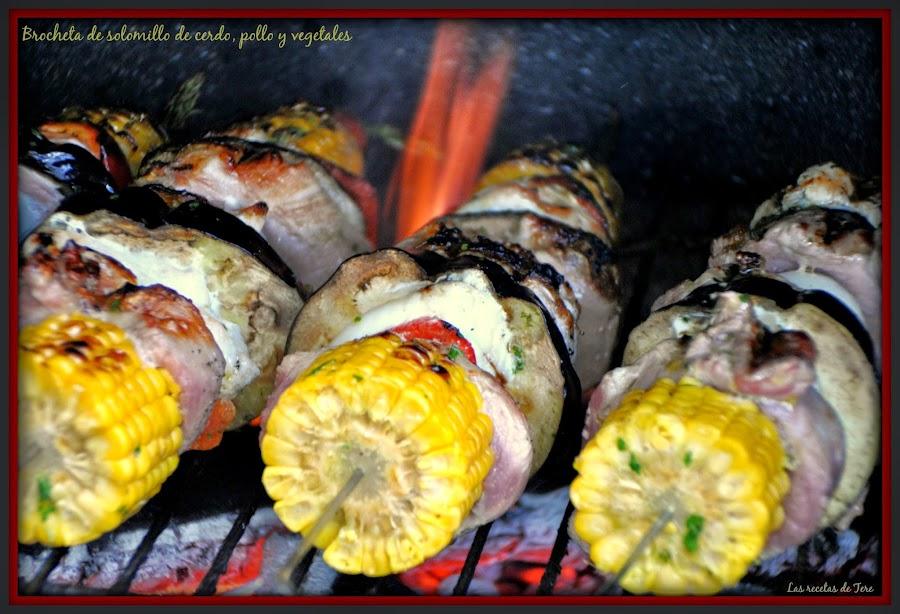 Brocheta de solomillo de cerdo, pollo y vegetales 01