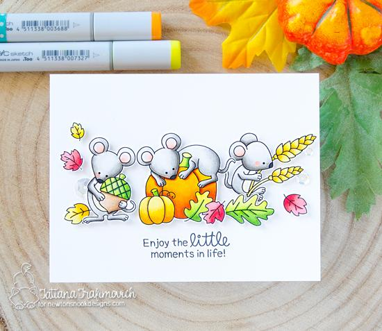 Fall Mouse Card by Tatiana Trafimovich | Autumn Mice Stamp Set by Newton's Nook Designs #newtonsnook #handmade