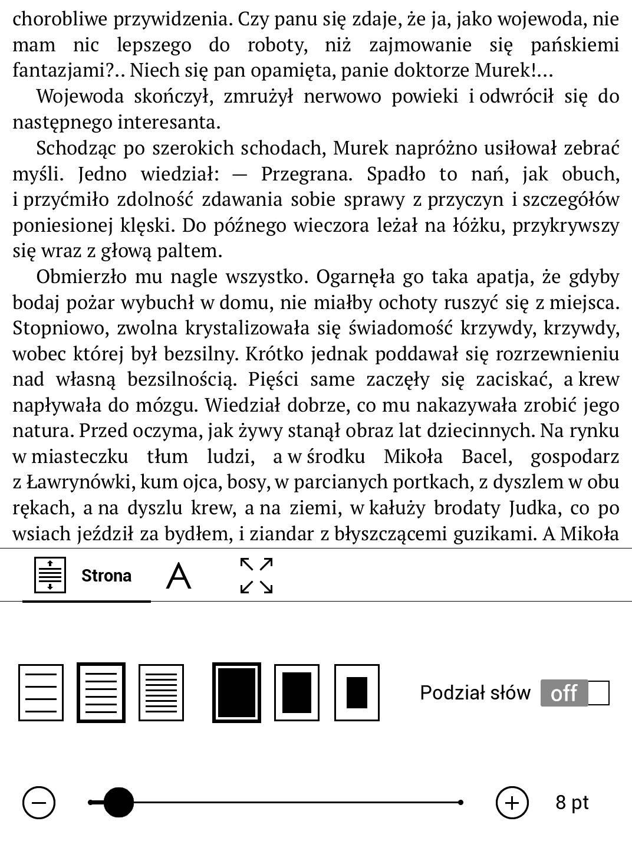 Ustawienia e-booka w PocketBook TouchHD2 - karta układ strony