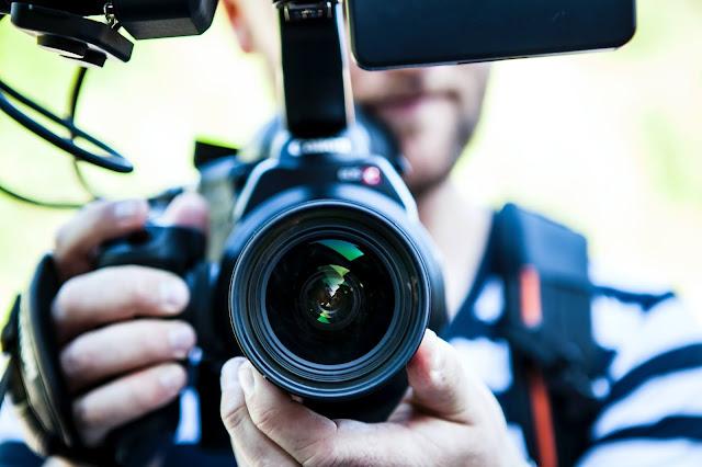 Close up of camera lens.