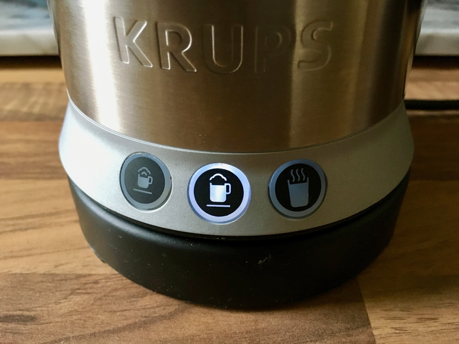 Close-up of buttons on the Krups Milk Frother
