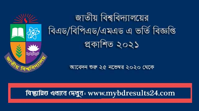 National University BEd BPEd MEd Admission Circular 2021