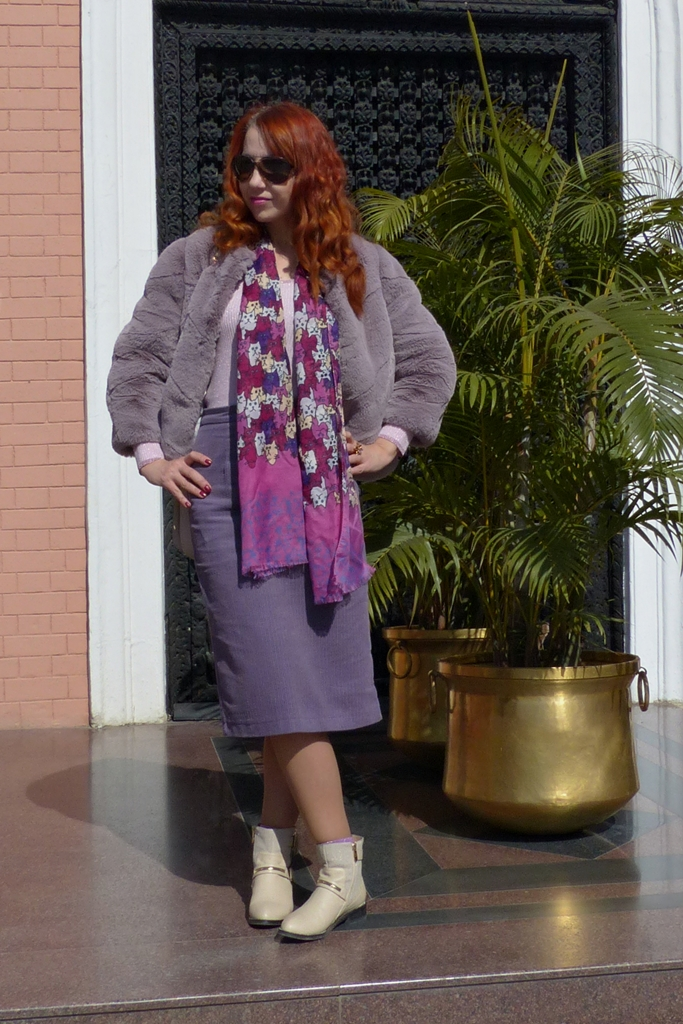 outfit in shades of purple