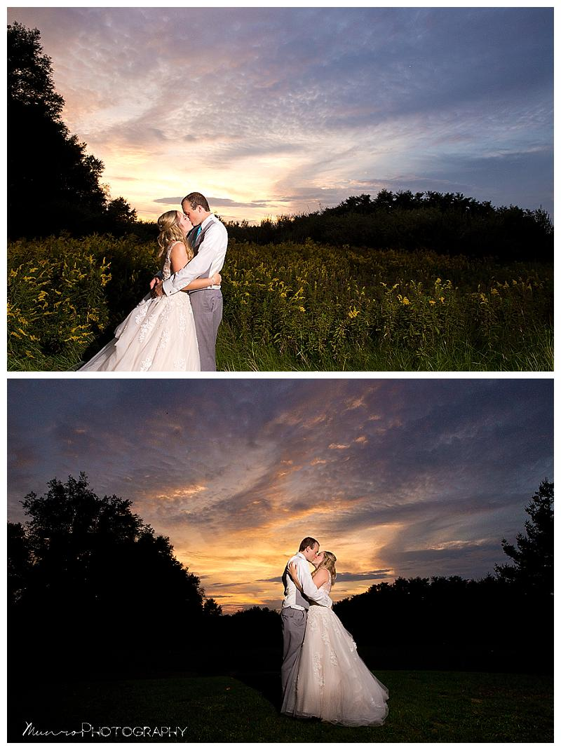 sunset, michigan, outdoor wedding, wedding portraits, unique, romantic