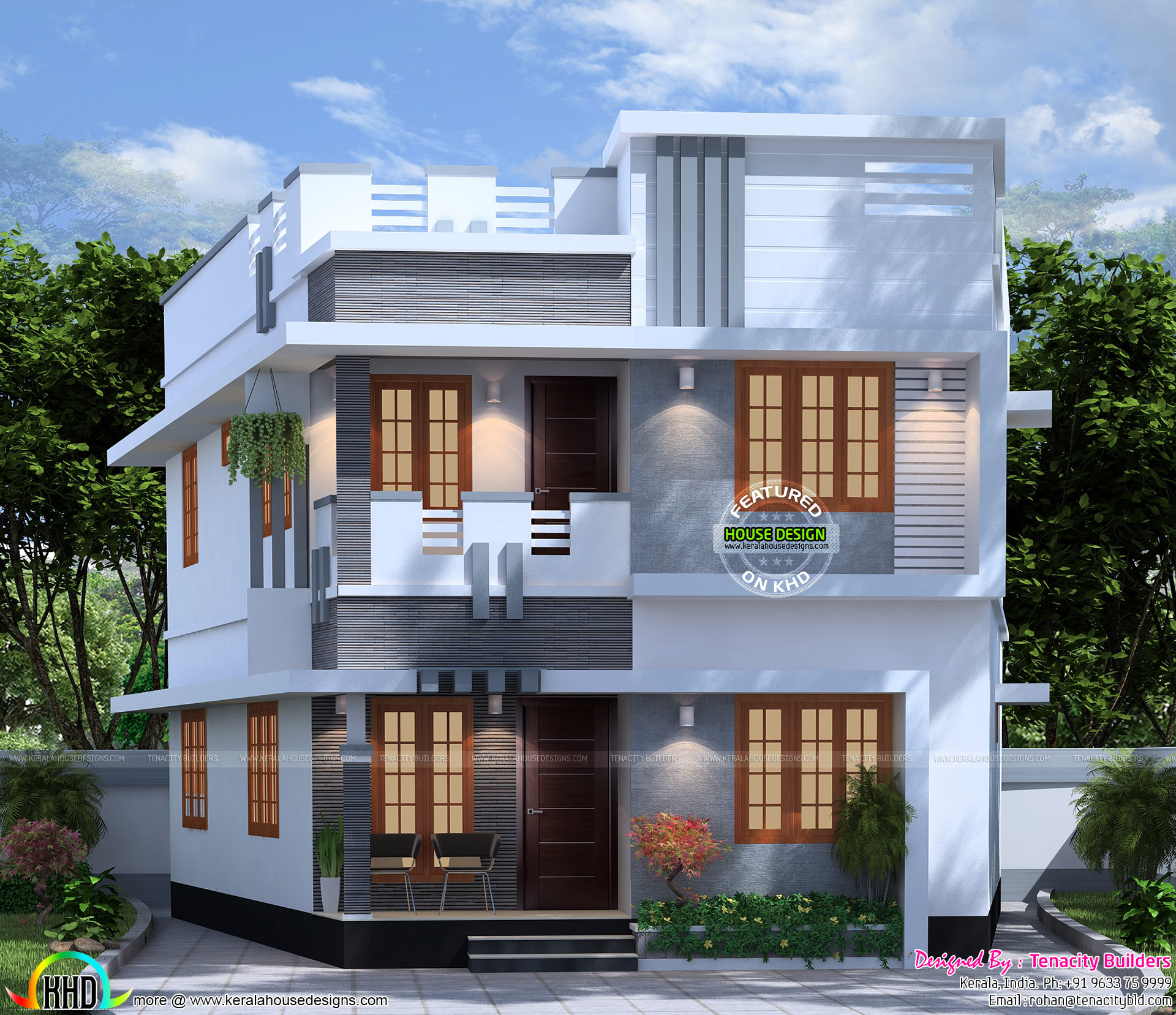 1300 square feet 4 bedroom house plan kerala home for Square house design