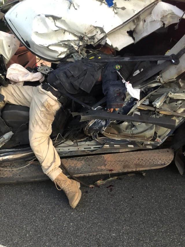 Um grave acidente agora pouco próximo de Santa Maria, pela informações na BR 040