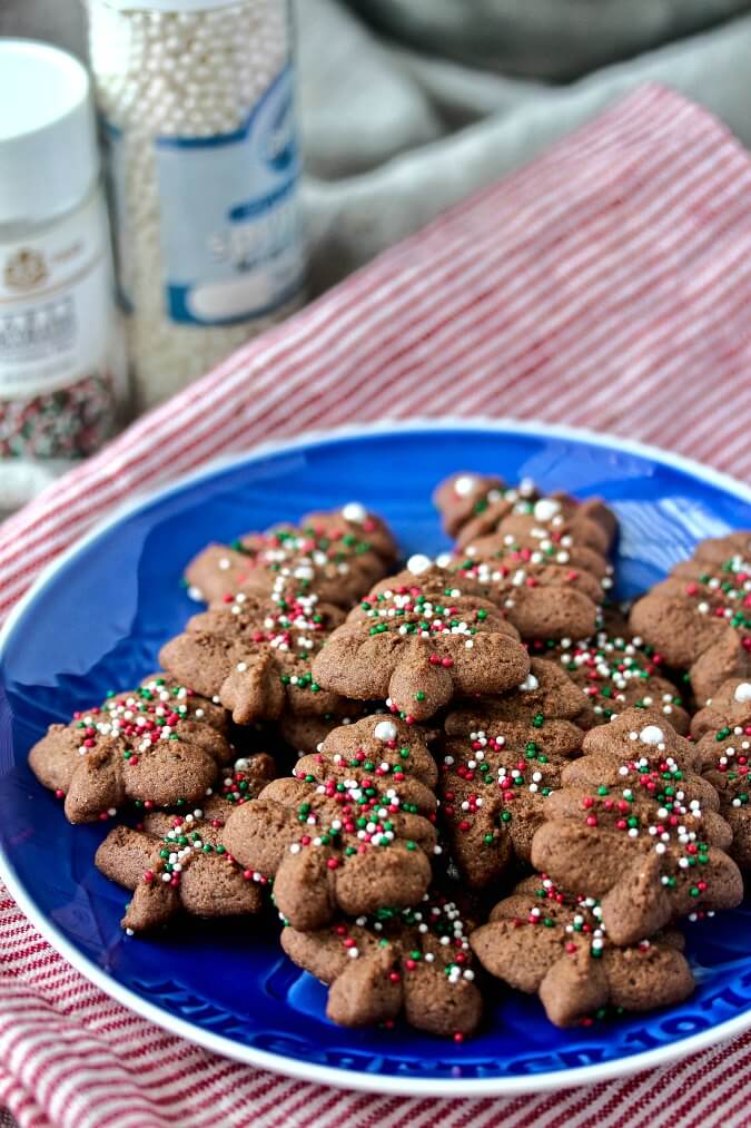 Chocolate Spritz Christmas Tree Cookies