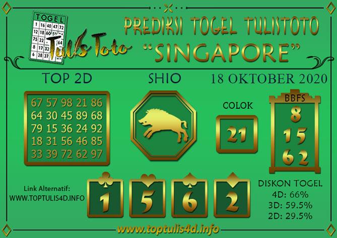 Prediksi Togel SINGAPORE TULISTOTO 18 OKTOBER 2020