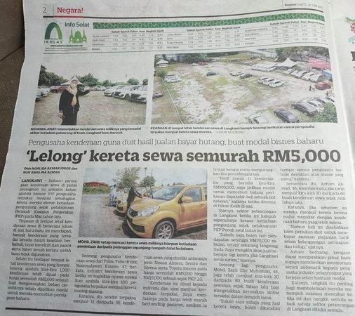 'Lelong' kereta sewa semurah RM5,000